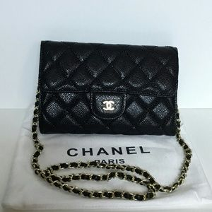Chanel Quilted Caviar Clutch Shoulder Flap Bag VIP